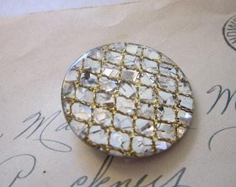 vintage confetti  tinsel Lucite button - 1-3/8 inches