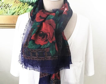 Vintage Floral Cotton Scarf - Red, Blue, Green, Black. 1980s Soft Cotton Shawl Style Preppy Classic Souleiado Floral Design Gifts Under 40