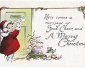 Message of Good Cheer - Antique Postcard - Christmas, Christmas Postcards, Children, Letters, Holly, Childhood, Paper, Ephemera