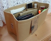 New Color / Purse insert Organizer Shaper / 12 x 6 x 6H / Sturdy / TAN / Fits Neverfull MM / With stiff wipe-clean bottom / Ready to ship
