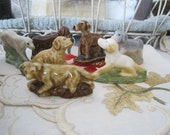 Lot of 7 Wade Dogs All Different Red Rose Tea Figures Wade Pottery Dog Figures Figurines