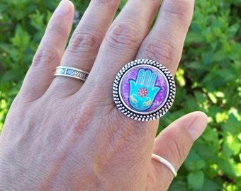 Hamsa Boho Ring, Bohemian cabochon ring, silver, adjustable ring, large Zen ring