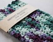 100% Cotton Crochet Wash Cloth, Crocheted Cotton Dish Cloth, Wash Rag, Purple, Lavender, Green, Blue Camo Blend, Spa, Beauty, Eco Friendly