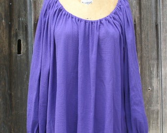 Purple cotton gauze peasant blouse shirt chemise for renaissance medieval faire gypsy pirate -ready to ship-