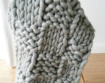 Chunky Knit Blanket. Grey. Luxury Bed Runner