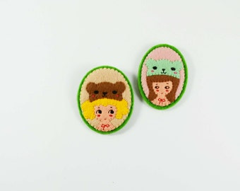 41% SALE Funfair Girl Felt Brooch / Miss Bear Felt Pin / Cute Carnival Girl Felt Brooch / Kawaii Felt Girl Brooch / Imaginary Felt Girl Pin