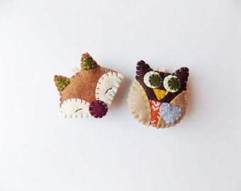 Felt Magnets - fox and owl on wooden spring clothespins