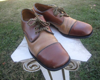 Great Vintage Unisex 1950s 1960s Leather Brown and Mustard Oxford School Disco Dress Shoe