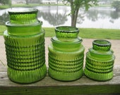 HOLDING FOR SALE Green Glass Apothecary Canister Jars Ground Lids