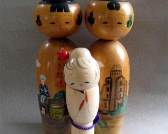 Three Vintage Japanese Kokeshi Wood Asian Carved Dolls Signed