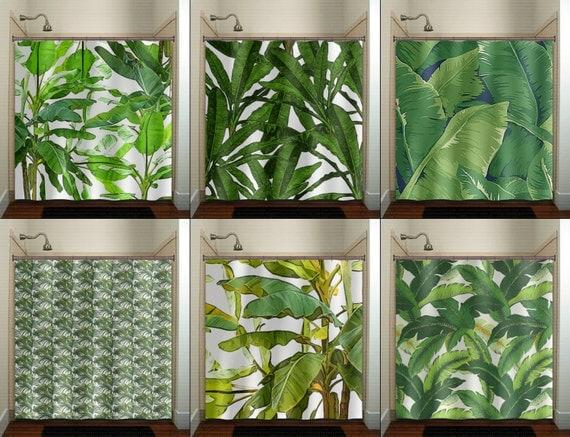 Tropical Jungle Green Palm Banana Leaf Shower By