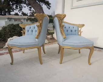FRENCH PROVINCIAL Pair of Tete a Tete Style Chairs with Baby Blue Moire Fabric (Los Angeles)
