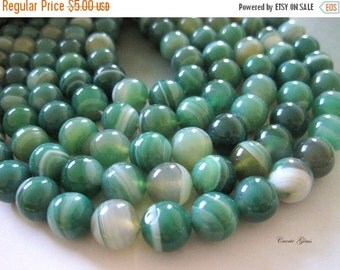 """20% OFF ON SALE Green Striped Agate Round 10mm, 8"""" long, 19 pcs"""