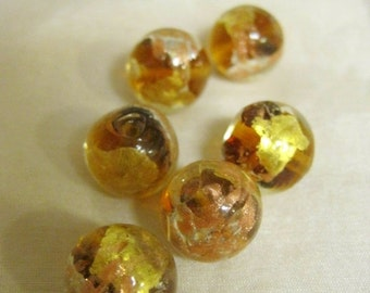 20% OFF ON SALE Handmade Gold Brown  Lampwork Glass Round 12mm Beads, 6 pieces