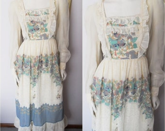 Vtg.70s Cream Floral Ruffle Hippie Maxi Dress.Small.Bust 36.Waist 28.