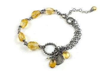 Citrine bracelet, silver gemstone bracelet,yellow jewelry, romantic retro bracelet