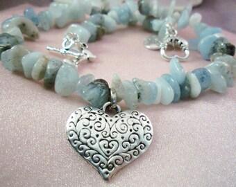 DOG Necklace- ag15 - Jewelry - Pet Lover -Gemstones -Aquamarine-  Hounds - Greyhound - Pug Gift- Made by USA Artisan - FREE Shipping