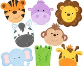SALE Jungle Animal Faces Cute Digital Clipart - Commercial Use OK - Jungle Animal Clipart, Jungle Animal Graphics