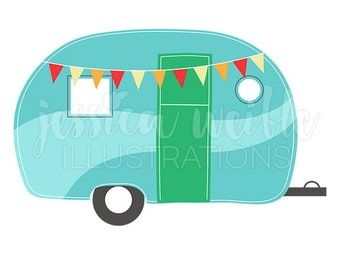 Camping Caravan Cute Digital Clipart, Camper Clip art, Camp Trailor Graphics, Illustration, #1641