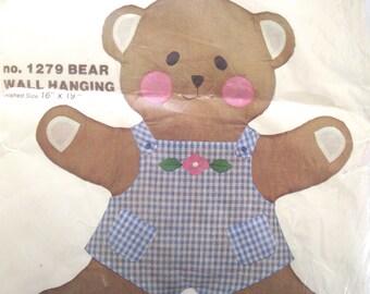 Teddy Bear Fabric Wall Hanging Kit, Vintage Unused Needle Art Felt Kit Project