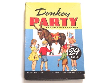 Pin the Tail on the Donkey, Vintage Poster and Party Game in the Box (A1)