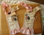 Chicken gift tags for friend paper art tags wallpaper tags birthday gift Shabby chic pink vintage style tags mixed media tags 2 cute hens