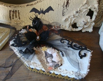 Halloween gift box white coffin victorian witch home decor altered mixed media Halloween candy container paper mache box altered art