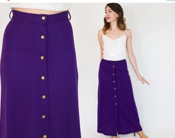 SummerS SALE 70s Purple Maxi Skirt, Long Wool Skirt, Extra Small