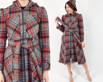 70s Wool Plaid Coat | Colorful Hooded Winter Coat | Small