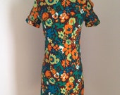 MOTHERS DAY SALE vintage floral wiggle dress/ 1960s 60s/ green orange/ size small
