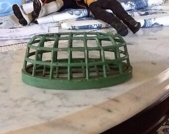 Vintage Iron Metal Flower Frog Industrial Pencil holder Retro Green
