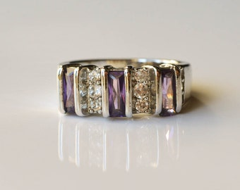 Sterling Amethyst Ring Amethyst and White Topaz Ring Size 7