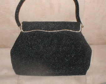 Vintage Black Beaded Evening Purse