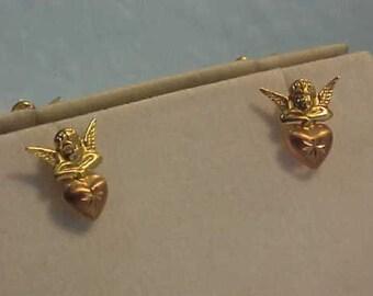 14k gold Pierced CHERUB Earrings