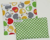 Reusable Sandwich Bag and Snack Bag Set Apples and Green Polka Dot Eco Friendly Reusable Bags