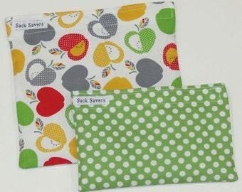 Reusable Sandwich Bag and Snack Bag Set Apples and Green Polka Dot Eco Friendly Reusable Bags