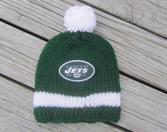 NEW YORK JETS Baby Hat, Hand Knit Baby Hat, Jets Hat, New York Baby Hat, Hand Knitted Baby Hat, Baby Hat, Football Hat, Knit Baby Hat