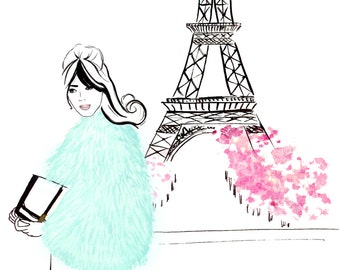 Watercolour fashion illustration Titled Parisienne
