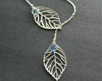 Leaf Necklace, Lariat Necklace, Lariat Leaf Necklace, Silver Leaves Necklace, Two Leaves, Leaves with Birthstones Necklace, Bridesmaids Gift