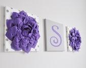 Nursery Custom Personalized Initial Wall Decor, Lavender White and Gray Nursery Letters, Wall Hanging Set, Polka Dot Nursery Decor,
