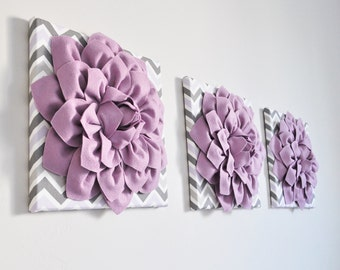 "Wall Art -SET of THREE Lilac Dahlia on Lilac and Gray and White Chevron 12 x12"" Canvas Wall Art - 3D Felt Flower"