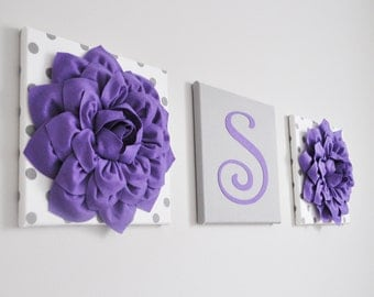 Nursery Custom Personalized Initial Wall Decor, Lavender White and Gray Nursery Letters, Wall Hanging Set, Polka Dot Nursery Decor,