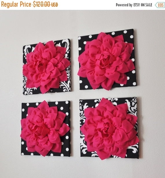 july sale wall decor set of four hot pink dahlias on by