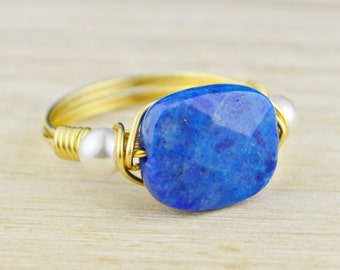 Lapis Lazuli and Any Two Birthstones Ring - Yellow or Rose Gold Filled or Argentium Silver Wire Wrapped- Any Size 4,5,6,7,8,9,10,11,12,13,14