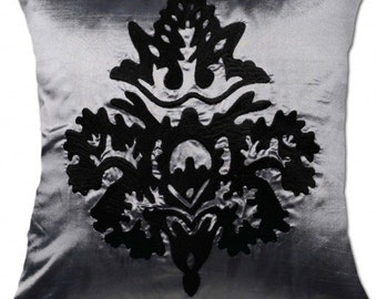 Silver Satin Black Damask Embroidered Cushion Cover