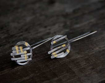 Gathering - sterling silver and 24kt gold earrings