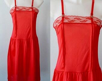 Vintage Red Full Slip, Hanna, Vintage Slip, Vintage Red Slip, Vintage Lingerie, 1970s Red Full Slip