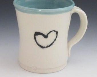 Porcelain mug / handmade / coffee mug / tea / pottery / heart / white / blue mug/ water cup