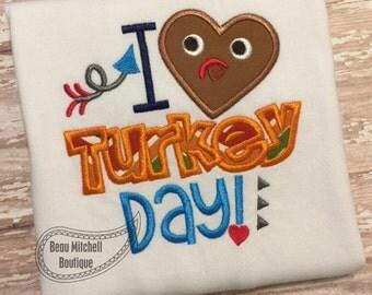 I LOVE turkey day applique