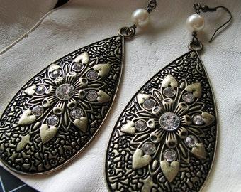 Gold statement earrings | pearl dangle | art nouveau | large | bohemian